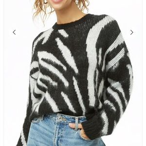 Zebra Striped Brush Knit Sweater